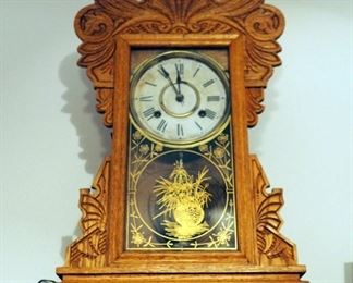 "Antique New Haven Pendulum Gingerbread Clock, 21.5"" X 13.75"" X 5"" With Key"
