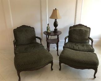 Two Chairs with Ottomans, Table, Lamp