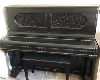 Steinway and Sons Black Upright Piano
