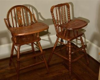 8. Two 2 Vintage Wooden High Chairs