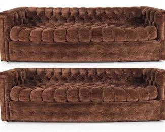Pair of mid century Chesterfield sofas in new velvet that is perfect. By John Stuart. $700 each or $1400 pair.