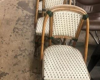 Bistro chairs, set of six, $600.