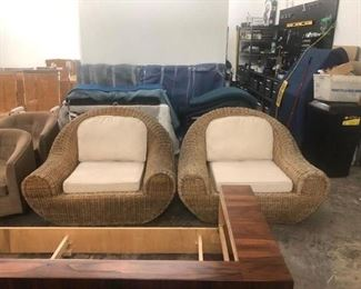 Large oversized wicker lounge chairs, $750