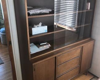MID-CENTURY PECAN CHINA CABINET BUFFET WITH SLIDING GLASS DOORS, 3 DRAWERS AND 2 DOORS NOW 35% OFF TODAY.