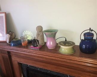 CLOSE UP VIEW NICE COLLECTION(S) SIGNED POTTERY PEWABIC, ANN ARBOR FAIR & GROSSE POINTE WAR MEMORIAL