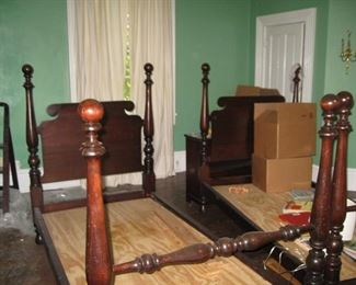Pair of antique twin beds