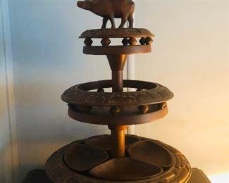 Monkey Pod 4 tier LARGE teak wood Lazy Susan  Sold