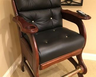 "$425 - Leather studded pool room chair with brass foot rail. Great for his ""man cave."""