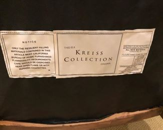 $450 EACH  - Label for Kreiss Collection side chairs (pair sold separately).