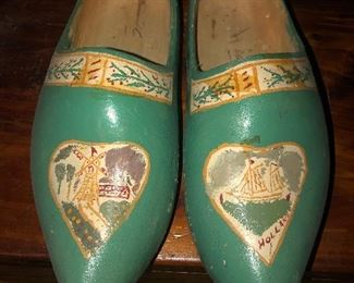Lot #11B Painted wooden clogs, larger adult size, $12