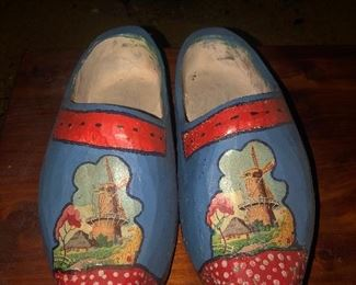 Lot 12B Medium size adult painted wooden clogs, $14