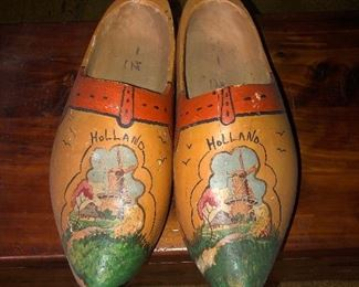Lot #13B Yellow painted larger adult size wooden painted clogs, $14