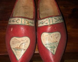 Lot 14B Larger adult red wooden painted clogs, $14