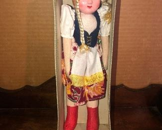 Lot #19B, Composition face, cloth body doll in box, $10