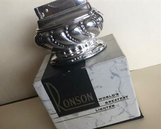 """Lot 66B, Ronson silver plated """"Crown"""" table lighter with box, $18"""
