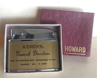 Lot 89B, Howard lighter, new in box, Kordy's Funeral Directors-Milwaukee Advertising, $24