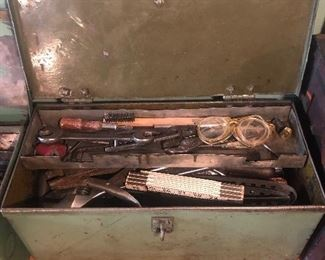 Lot 125B, 2nd metal tool box filled with heavy tools, $36
