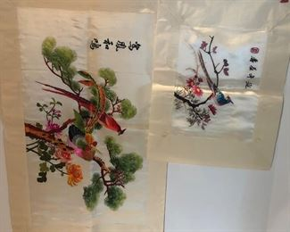 Lot 137B, Set of two silk Asian embroidered pieces, brand new and quite large, $32