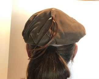Lot 142B, Great velvet hat with feathers, $12