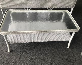 Wicker Glass Top Table $ 32.00