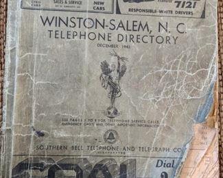1941 Winston Salem N.C. Telephone Directory