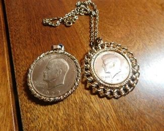 Gold Plated Eisenhower and Kennedy Necklaces