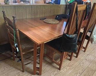 Amish-made mission table; 6 chairs