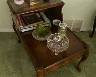Vintage step-up end tables with leather inlay; $75 pair