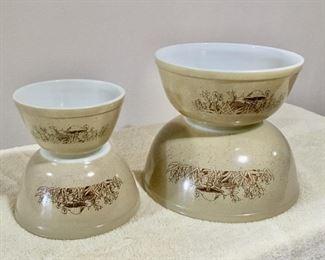 Vintage Pyrex Mushroom nesting mixing bowls  $60