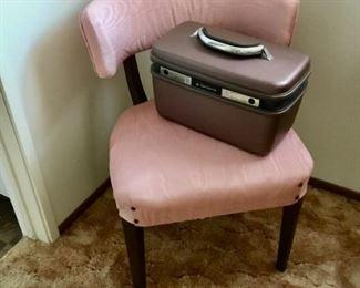 Antique dressing chair $25; Vintage Train case $14