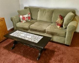 Like new Micro fiber Sofa  $95; Coffee Table $40