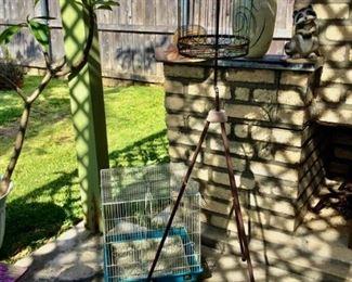 Bird Cage on Stand $45, Blue bird cage on ground $18