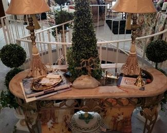 Entry Table with Lamps and various faux plants
