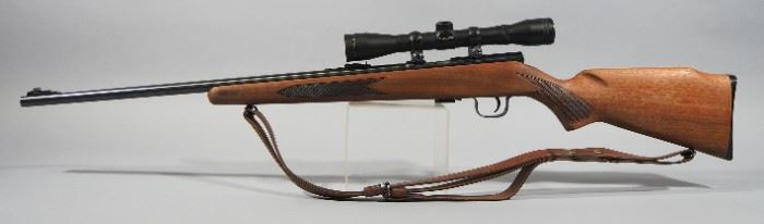 Winchester Model 320 .22 SLLR Bolt Action Rifle SN# D26918, With Simmons 4x32 Scope And Leather Sling