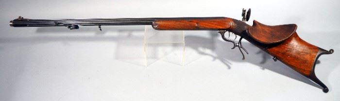 J. Cesinger Nurneerg Pellet Gun SN# Not Found, With Peep Sight And Unique Carved Wood Stock