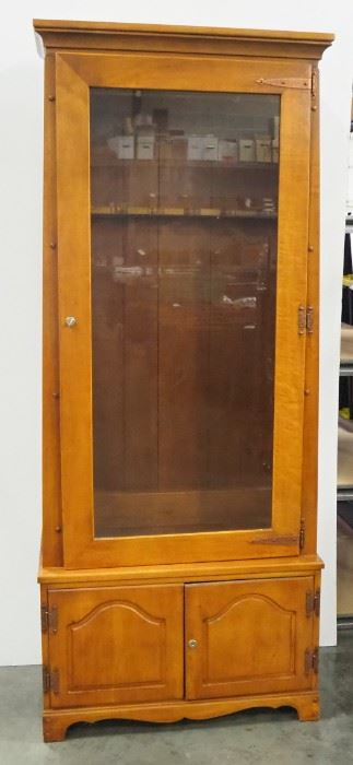 """Wood And Glass Gun Cabinet With Lower Storage Area, Includes Key, Holds 6 Longarms, 72"""" H x 29"""" W x 15"""" D"""