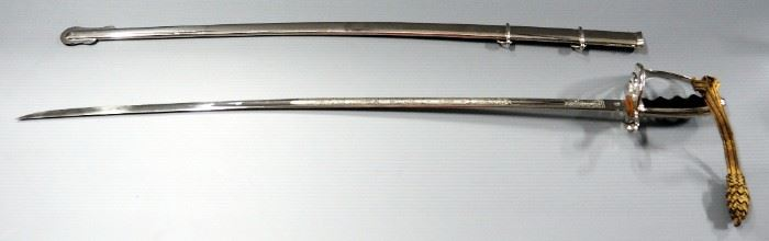 """Cutlass Style Ceremonial Sword With US Patriotic Engraving, 34"""" Blade, In Scabbard"""