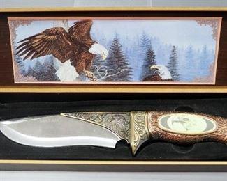 """Maxam Bald Eagle Fixed Blade Knife 6.25"""" Blade, In Display Box"""
