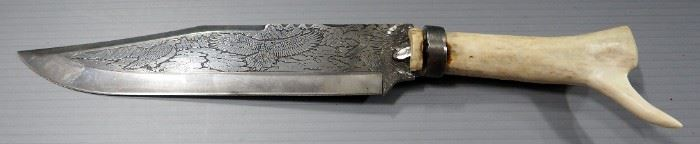 """Fixed Blade Knife With Bald Eagle Engraving And Bone Handle, 9"""" Blade"""