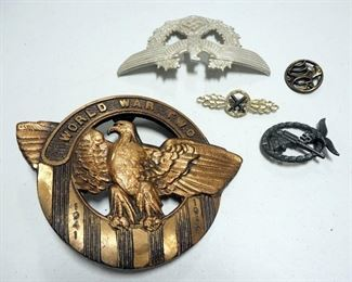 """World War II Collectibles Includes Bronze 7.5"""" W x 6"""" H, Nazi Medallion, Nazi Stamps, C.B.I. Theater Pillowcase, And More"""