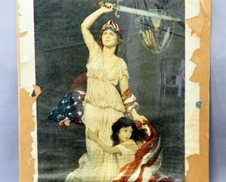 """World War One """"They Shall Not Perish"""" Lithograph By Douglas Vlak 1918, 30"""" Wide x 40"""" High"""