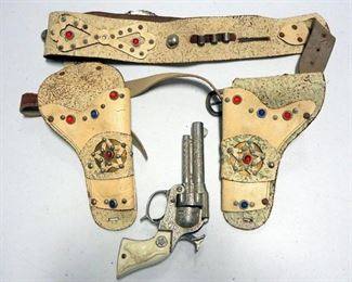 Children's Toy Assortment Includes Toy Pistol, Spurs, Holsters, Battery Operated Tank (Unknown Working Condition), And More