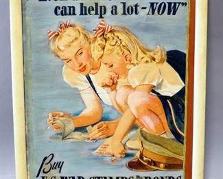 """World War II War Bond Ads Qty 2, 1 Framed Under Glass 20.25"""" Wide x 8.25"""" High, Other Is Framed 17.5"""" Wide x 21.5"""" High"""