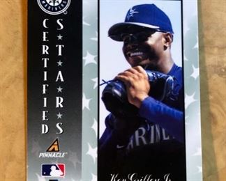 1997 Pinnacle Certified Stars MIRROR BLUE, KEN GRIFFEY JR. #136 Baseball Card (Beckett: Limited Edition of only 45 Produced) not graded, back view of card