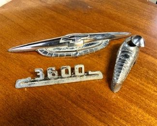 1950's CHEVY Hood & Side Ornaments and Handle with Bow-Tie Chevy Logo from a Bel-Air