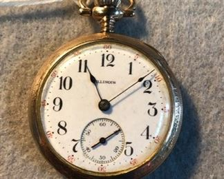 """c.1913 """"ILLINOIS WATCH CO."""" Springfield, IL, Gold Case, Pocket Watch (Yes, it works!)"""