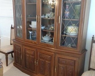 CHINA CABINET WITH MATCHING TABLE AND CHAIRS