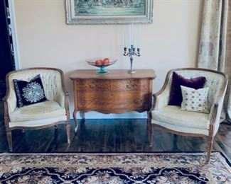 Pr. French style chairs, antique chest, rug, painting.