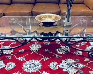 Wrought iron, glass coffee table.