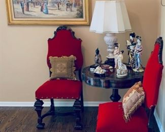 4 red upholstered red chairs (two not shown), French St. scene painting, assorted Asian figures. Asian child stature.